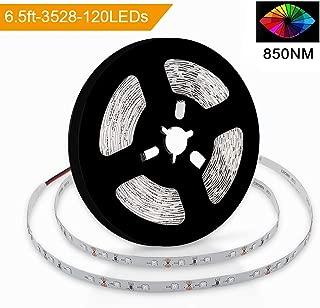 SMD3528-120-IR Infrared (850nm) LED Light Strip 12V Single Chip Flexible LED Strips 60LEDs 4.8w/m 6.5ft/Reel 8mm-Wide Non-Waterproof Infrared LED Light Supplement