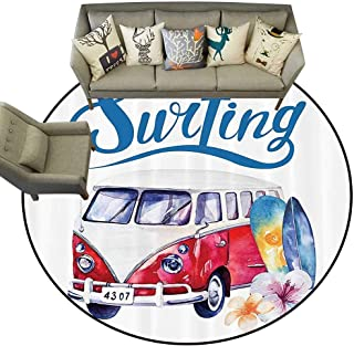 Round Area Rug Surfboard Decor Collection Beach Holiday Tropical Travel Adventure Surfing Time Wagon Bus Shell and Flower Image Living Dinning Room and Bedroom Rugs D67 Red Blue