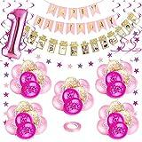 Bebé Niña 1er Cumpleaños Decoraciones, Kit de Globo Rosado para Fiesta de Primer Cumpleaños para Niños, Feliz Cumpleaños Globos de Látex Impresos Confeti Número'1'