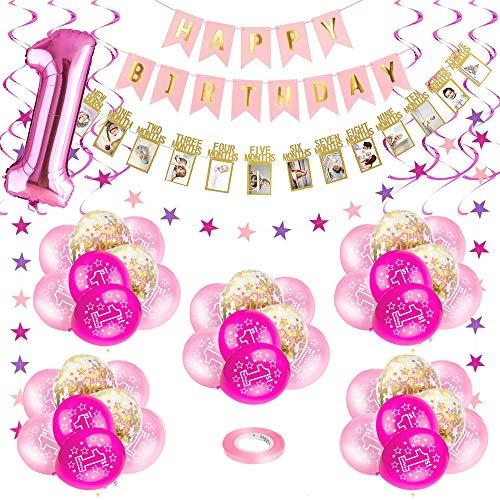 Bebé Niña 1er Cumpleaños Decoraciones, Kit de Globo Rosado para Fiesta de Primer Cumpleaños para Niños, Feliz Cumpleaños Globos de Látex Impresos Confeti Número '1'