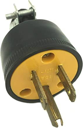 BRUFER 310103 Heavy Duty Male Electrical Plug 3-Prong 125V 15A - 3 Wire Replacement