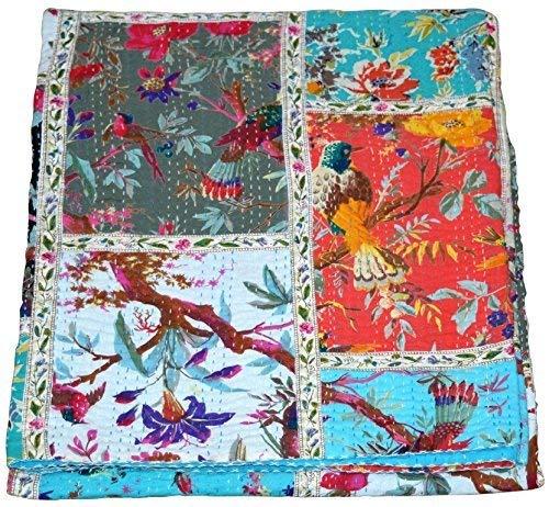 Kantha-Baumwoll-Tagesdecke mit indischem...