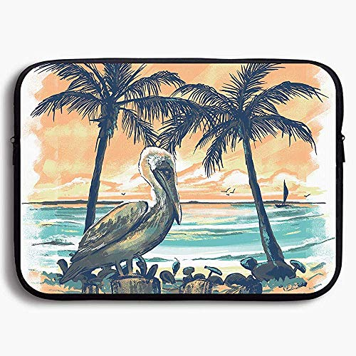 Laptop Sleeve Bag Pelican Sunset Artistic Painting 15 Inch Briefcase Sleeve Bags Cover Notebook Case