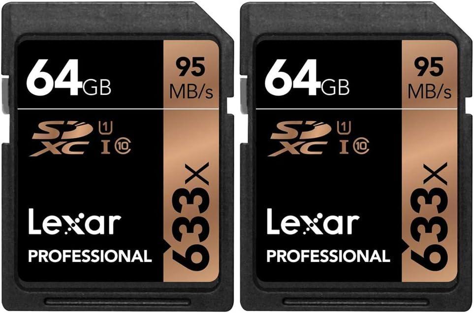 Lexar Professional 633x 64GB USH-1 Class 10 SDXC Memory Card 2 Pack (LSD64GCB1NL633)