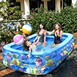 WSJYP Piscinas Inflables, Piscina de Interacción de Gran Tamaño 1-6 Pueblos Engrosados con PVC, Piscina de Verano con Agua para Fiestas Niños Adultos,262 * 175 * 60cm-Blue