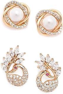 Zaveri Pearls Combo of 2 RoseGold Cubic Zirconia Brass Stud Earrings-ZPFK10218