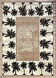 Palm Tree Modern Area Rug Tropical Beige & Green Design 729 (8 Feet X 10 Feet)