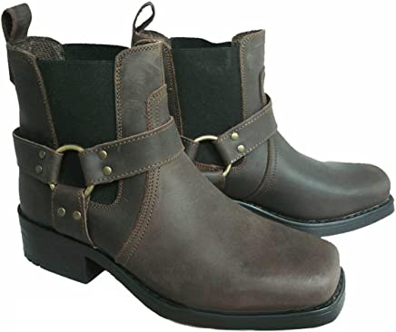 harley leather pull on western harness cow biker boots
