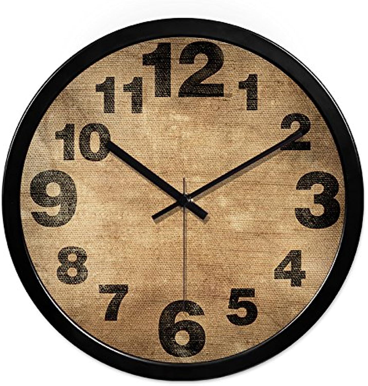 Komo silencioso Moderno Decoración Adorno para Hogar Reloj de Parojo Mudo Creativo Moderno Simple del Reloj de Cuarzo de la Sala de Estar,12 Pulgadas,Pin Negro del Clavo del Metal