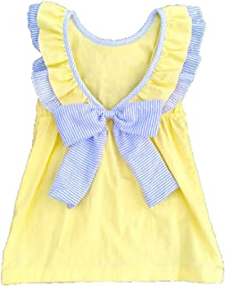 Girls Dress Backless Sash Bow Cotton Summer Skirt Can be Personalized Or Monogrammed