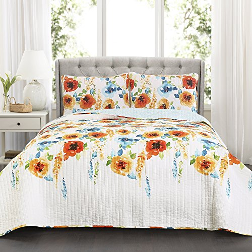 Lush Decor 3 Piece Percy Bloom Quilt Set, King, Tangerine & Blue