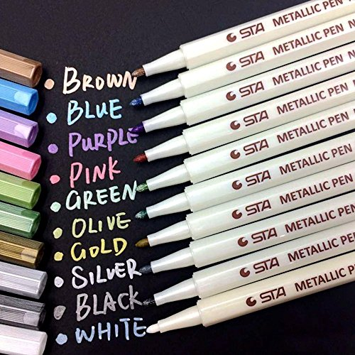 Metallic Marker Pens, 10 Farben Metallic Stifte, 1mm Feine Maker Stift für Fotoalbum Schwarze Seiten, Gästebuch Hochzeit, Kalender 2020 2021, Bullet Journal, Fotobuch, Explosionsbox, Glas, Holz, Stein