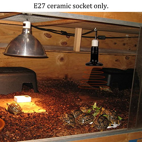 Zacro 2 Pack Reptile Heat Lamp 100W with One Digital Thermometer, Infrared Ceramic Heat Lamps, Reptile Emitter Bulb 110V (Black)
