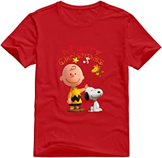StaBe Adult Peanuts Movie 2015 Snoopy Christmas T-Shirt 100% Cotton Retro