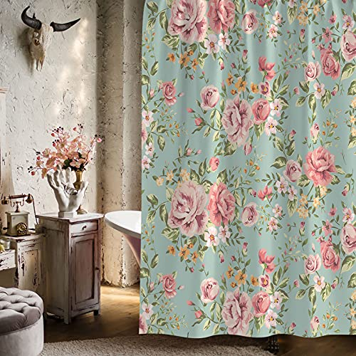 """Gibelle Vintage Floral Shower Curtain, Spring Pink Rose Flower on Green Background Retro Classic Design, Cottagecore Shabby Chic Waterproof Fabric Bathroom Decor for Women and Girls, 36"""" W x 72"""" L"""