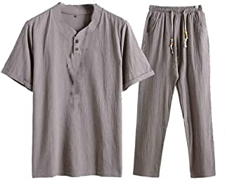 Coolred Men's 2-Piece Big & Tall Trousers Summer Blouse Top+Pants Set