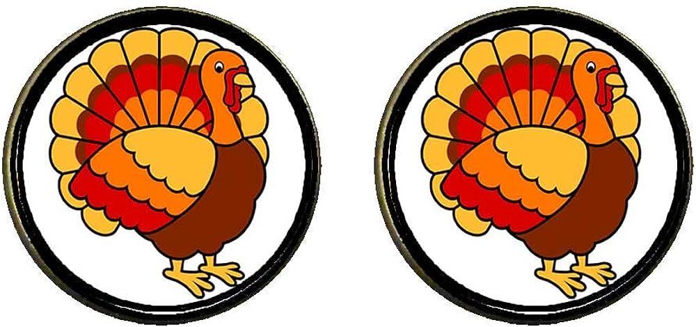 GiftJewelryShop Bronze Retro Style beautiful Thanksgiving turkey Photo Clip On Earrings 14mm Diameter
