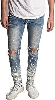 KDNK Men's Tapered Skinny Fit Stretch Denim Distressed Splatter Ankle Zip Jeans