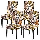 Juego de 4 fundas para sillas de comedor, con diseño de estrella de mar, playa, elástica, fundas de silla lavables, protector de asiento extraíble para cocina, hotel, restaurante y fiesta