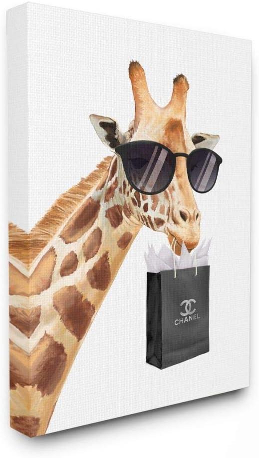 Stupell Industries Glam Fashion Max 83% Finally popular brand OFF Giraffe Animal Canvas W Painting