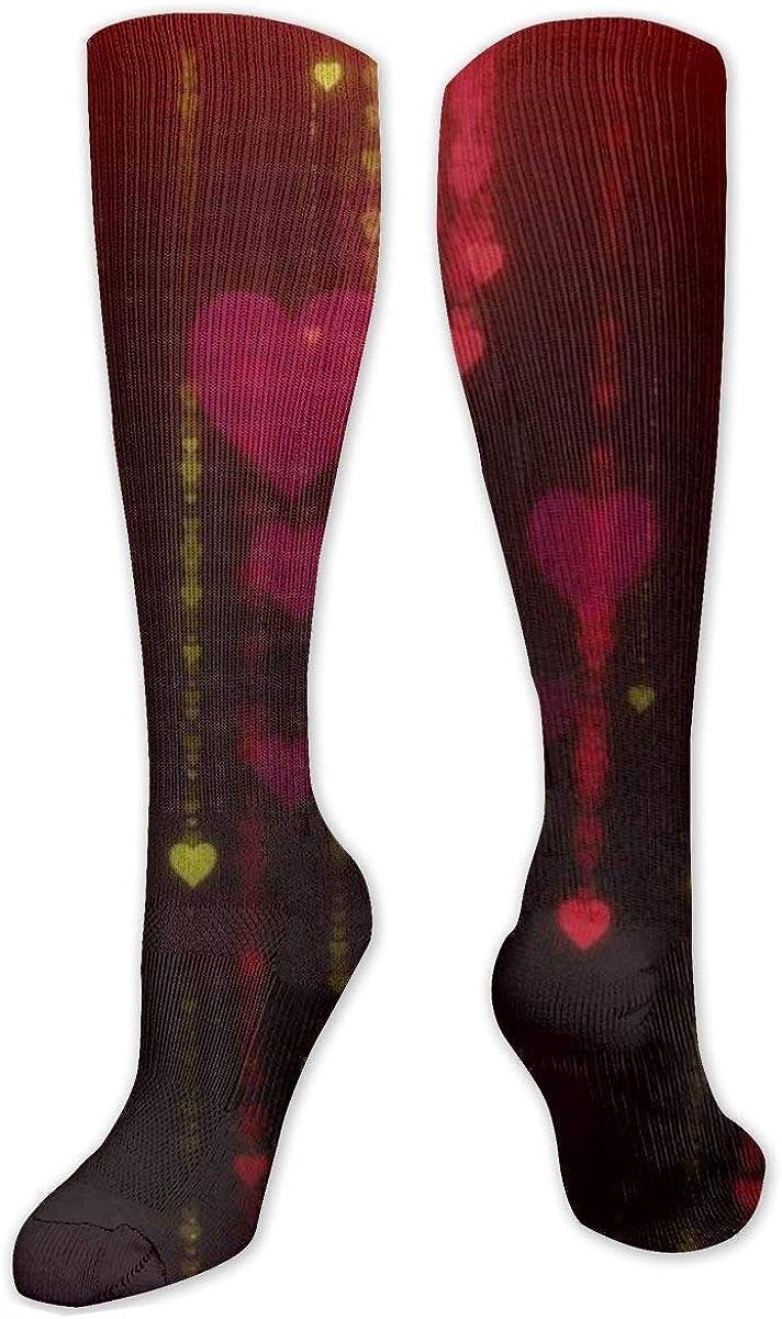 Love Heart Glare Dark Knee High Socks Leg Warmer Dresses Long Boot Stockings For Womens Cosplay Daily Wear