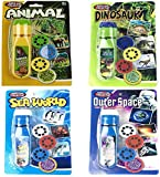 Kids Torch Projector Night Light Girls Xmas Gift, Brainstorm Toys Torch and Wall Projector Educational Toy,Animal Torches Lamp Flashlight ,Slide Projector Flashlight flashlights (4 Pcs)