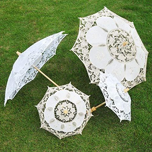 Steellwingsf Paraguas de novia, de encaje para mujer, sombrilla para fiesta, fotografía, decoración de boda, color blanco, S