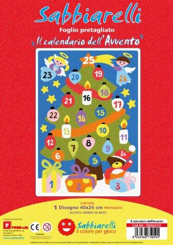 Sabbiarelli Sand-it for Fun - Poster Calendario dell'Avvento: 1 Maxi Disegno Adesivo da Colorare con la Sabbia (Non Inclusa), Adatto per Adulti e Bambini, 26x40cm