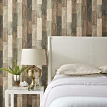 RoomMates Dark Weathered Plank Peel and Stick Wallpaper