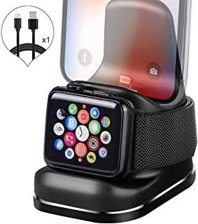 SENZLE 3in1 for Apple Watch Stand,Desk Mini Charger Stand Dock for iPhone or Airpods, Aluminum Charger Charging Station for iWatch Series 5/4 /3/2 /iPhone 11/XS/X/8/7/6/5 &Airpods 2/1 (Black, SL502)