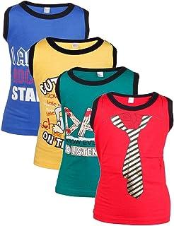 Goodway Pack of 4 Senior Boys Printed Vest Tshirts(SB-4PCK-VEST-ATT-1-COL_Multicolor)