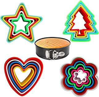 Cookie Cutters Set Cake Cutters with 4 Shapes for Different Size Cookies Come with 7inch Non-Stick Springform Pan (21 PCS)