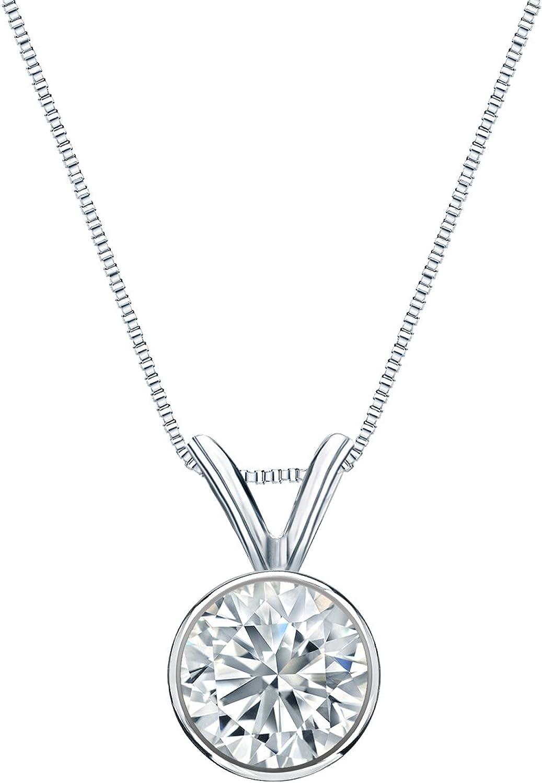 14k Gold Bezel Set free shipping Round-Cut Diamond 5-1 Pendant ct Manufacturer OFFicial shop Solitaire 1