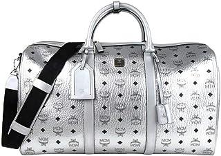 MCM Women's Berlin Silver Coated Canvas Weekender Duffle Travel Bag MUV9SVY14SB001