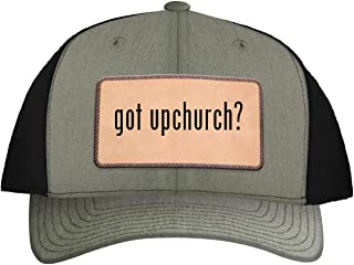 One Legging it Around got Upchurch? - Leather Light Brown Patch Engraved Trucker Hat