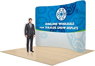 10ft Curved Portable Tension Fabric Wall, Graphics Included, Single Sided, New Pop Up Banner Stand for Trade Show Display