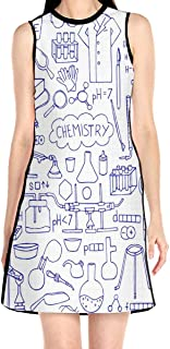 Women's Sleeveless Dress Chemistry Doodle Fashion Casual Party Slim A-Line Dress Midi Tank Dresses