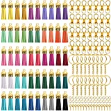 Duufin 350 Pcs Keychain Tassels Set with 50 Pcs Gold Cap Tassel for Keychain and Jewelry Making 50 Pcs Keychain Hook 50 Pcs Key Chain Rings 100 Pcs Jump Ring and 100 Pcs Screw Eye Pins