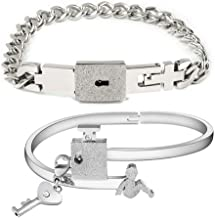 Jpwpowe His Hers Love Heart Key Lock Macthing Bangle Bracelets Lovers Jewelry Set Gifts