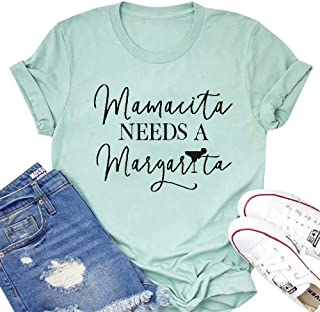 MAXIMGR Mamacita Needs a Margarita T-Shirt Women Funny Letter Printed Graphic Tees for Mom Casual Summer Top Shirt