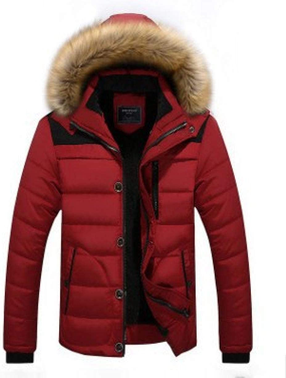 Winter Men's Cotton Coat Hooded Casual Large Men's Plush Thickened, Burgundy, 5XL