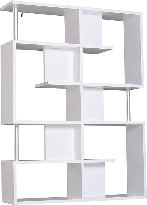 Libreria scaffala ad s 5 ripiani design moderno soggiorno, ufficio, salotto, legno, bianco,120 x 28.6 x 160 cm IT833-554WT0631