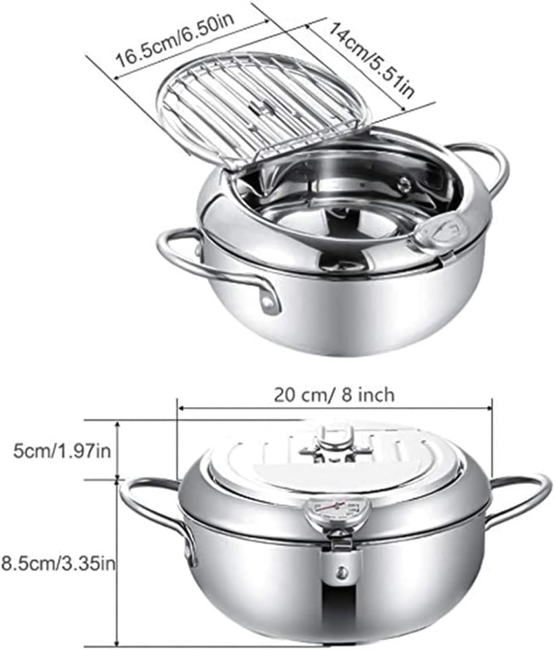 24CM Chutoral Tempura deep Fryer Chip Pan Frying Pan Deep Pan With Thermometer And Cold Touch Handle Stainless Steel Induction Cooker Deep Pan Fryer