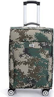 GLJJQMY Oxford Cloth Camouflage Trolley Case Luggage Suitcase, Green Camouflage 20 Inch / 24 Inch Trolley case (Size : 20)