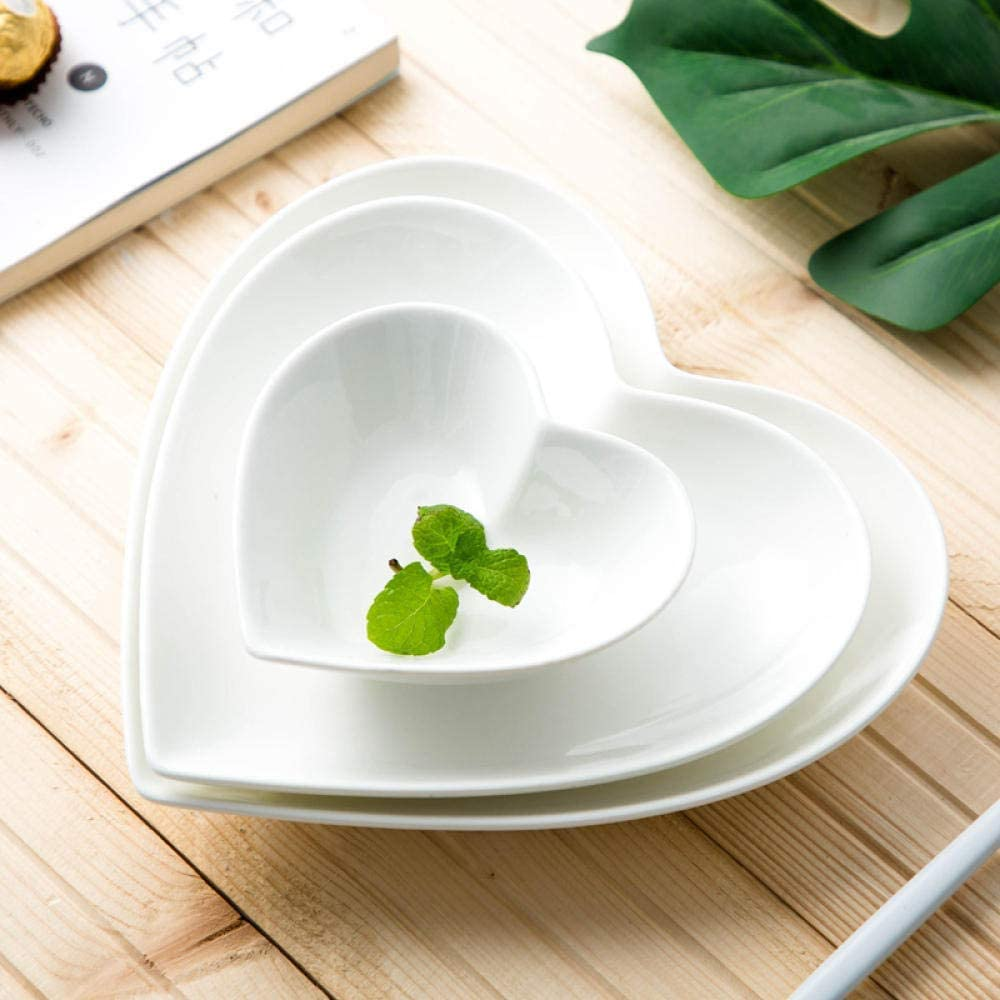 HTLLT Nordic Creative Peach Heart-Shaped Plate Ceramic Pure White Home Dinner Plate Cute Breakfast Plate,7.5 inch Heart Tray