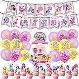 My Little Pony Party Supplies, Hilloly 32 Pcs Juego de Suministros Para Fiestas de Cumpleaños Para Niños Con Pancartas de Globos de Cumpleaños Feliz DecoraciÓN De Tartas