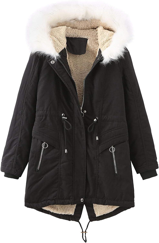 HGWXX7 Womens Outerwear Fleece Lined Long Sleeve Mid Long Parka Jacket Faux Fur Hood Plus Size Zip Up Pocket Coats Black