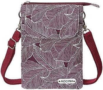 AOCINA Mini Wallet Canvas Crossbody Cell Phone Purse (Red)