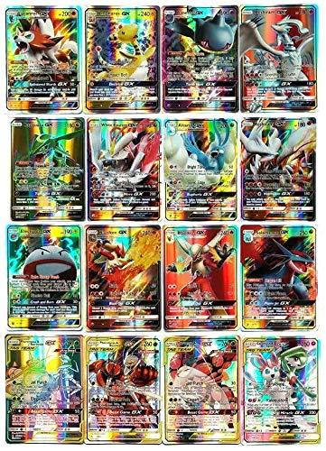 zhybac Pokemon Card, Pokemon Flash Card, Pokemon Card, Carta per Bambini, 60 Carte GX Complete, 60 Carte Mega Complete,Pokemon Toy Card,Carta Rara di Pokemon (60PCS GX)