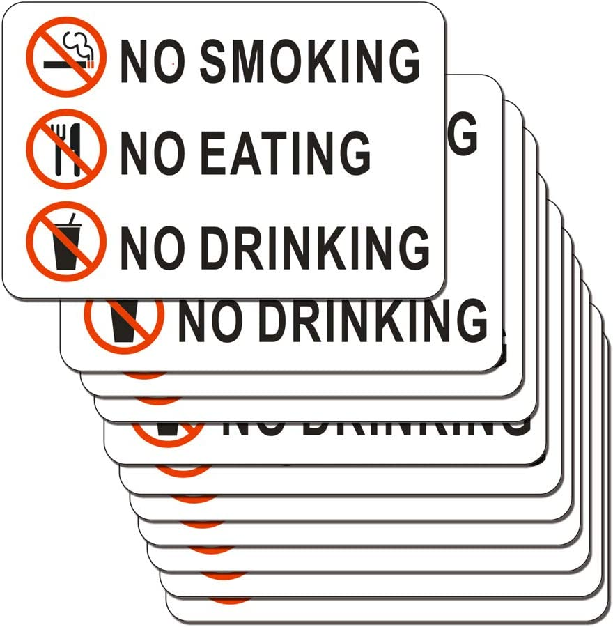 No Smoking No Eating NO Drinking Sticker Sign 10 Set 2 X 3 Inch 5 Mil Vinyl Laminated for Ultimate Protection Durability Self Adhesive Decal UV Protected Weatherproof (O)